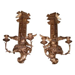Pair of Large Antique Continental Giltwood Two-Light Sconces