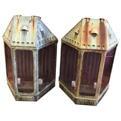 Pair of Large Antique Copper Lanterns