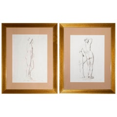 Pair of Large Antique Engravings of Apollo