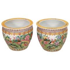 Pair of Large Antique Famille Rose Porcelain Jardinieres