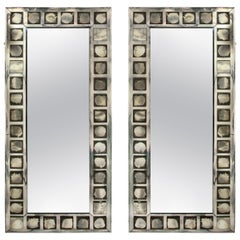 Pair of Large Antique French Art Deco Geometric Rectangular Mirrors