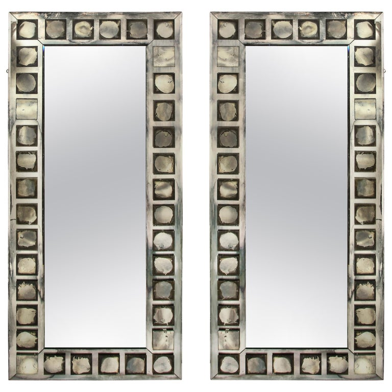 Pair of Large Antique French Art Deco Geometric Rectangular Mirrors For Sale