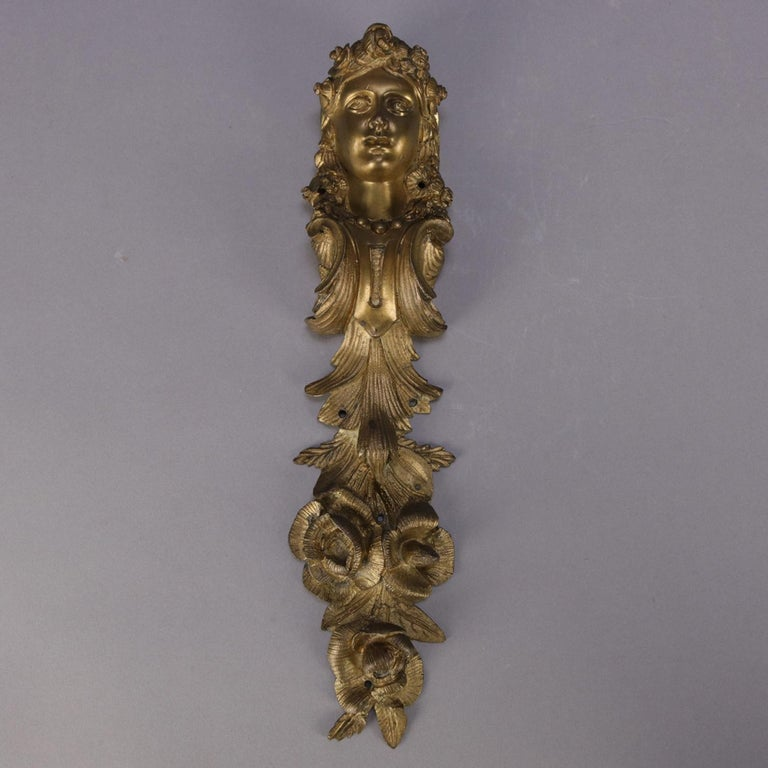 Cast Pair of Large Antique French Louis XIV Figural Ormolu Architectural Mounts For Sale