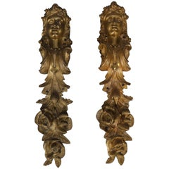Pair of Large Antique French Louis XIV Figural Ormolu Architectural Mounts