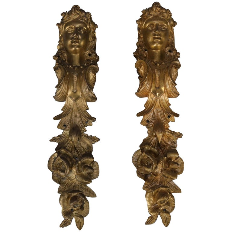 Pair of Large Antique French Louis XIV Figural Ormolu Architectural Mounts For Sale