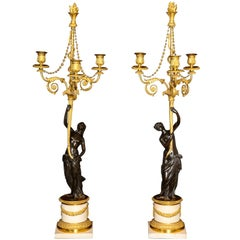 Pair of Large Antique French Louis XVI Figural Gilt Bronze & Marble Candelabras