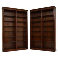 Pair of Large Antique Georgian Style Mahogany Open Bookcases