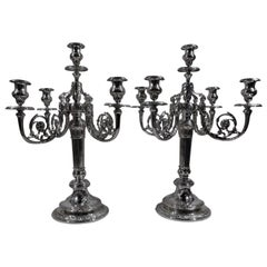 Pair of Large Antique Gorham French Neoclassical 5-Light Candelabra