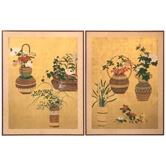 Pair of Large Antique Japanese Kabana Floral Paintings, 19th Century