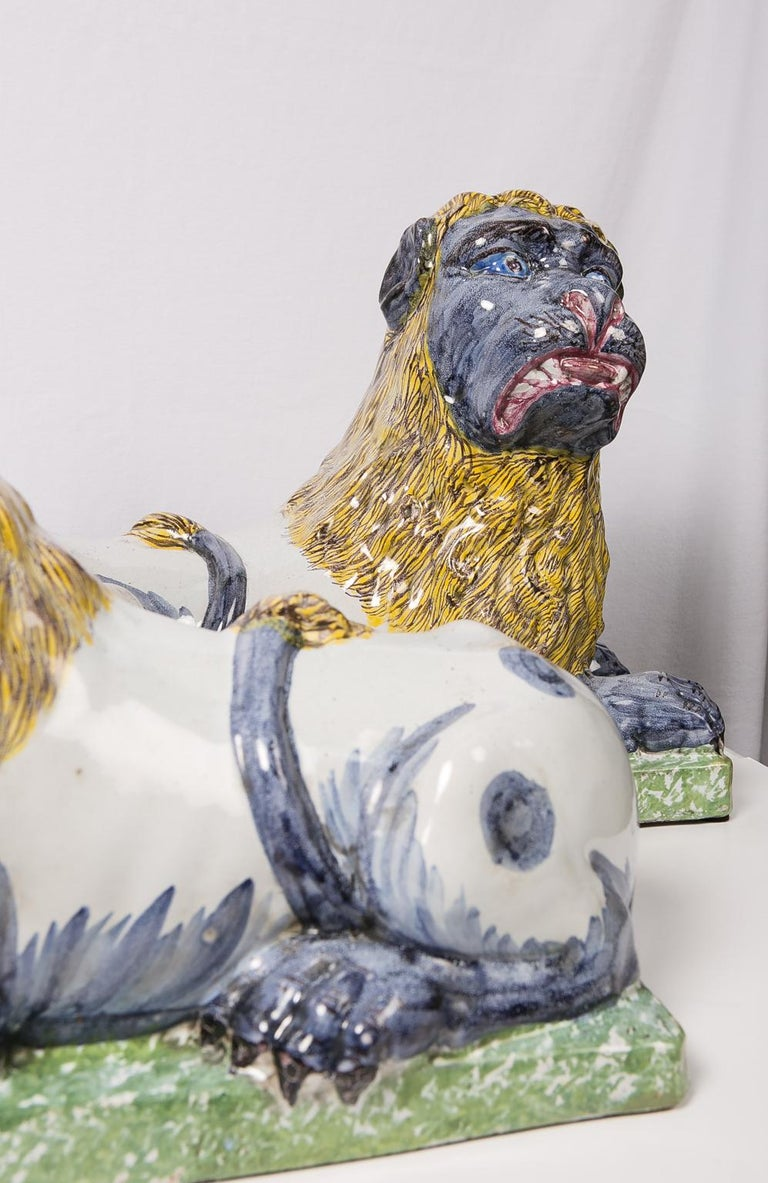 Pair of Large Antique Luneville Lions Made circa 1800 For Sale 8
