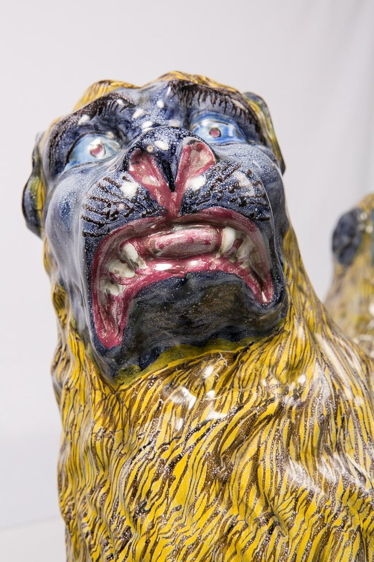 French Pair of Large Antique Luneville Lions Made circa 1800 For Sale