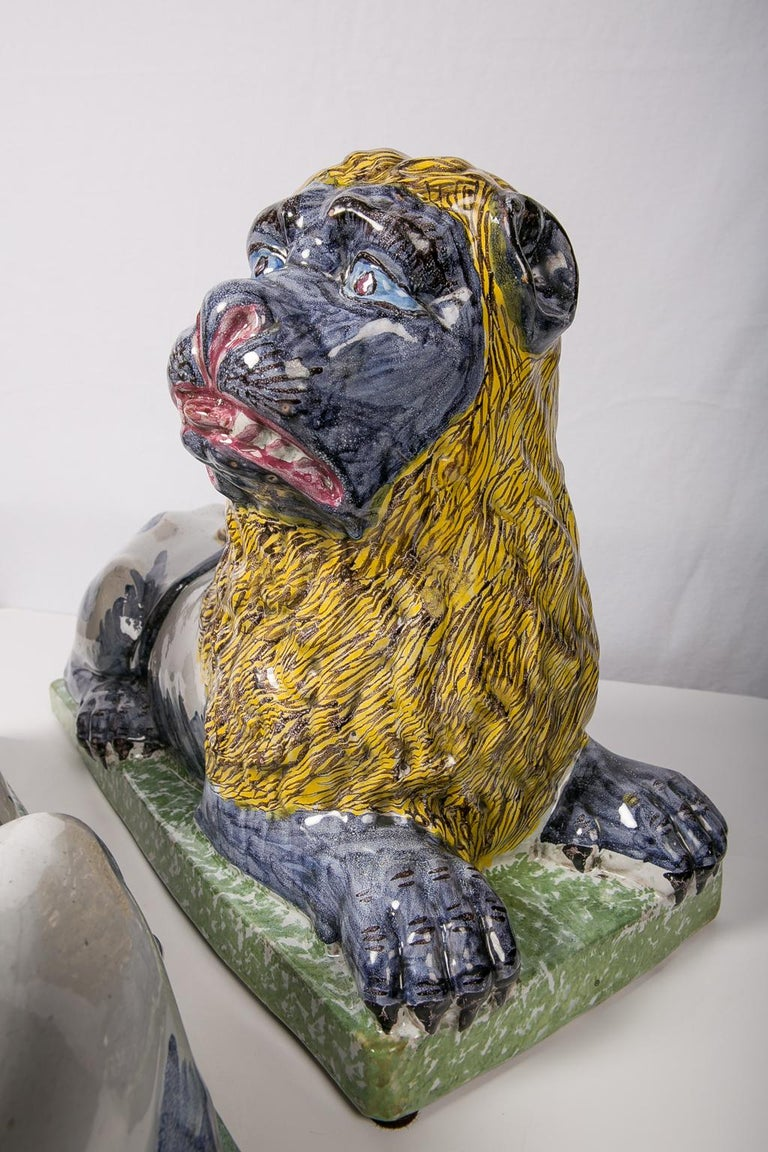 Earthenware Pair of Large Antique Luneville Lions Made circa 1800 For Sale