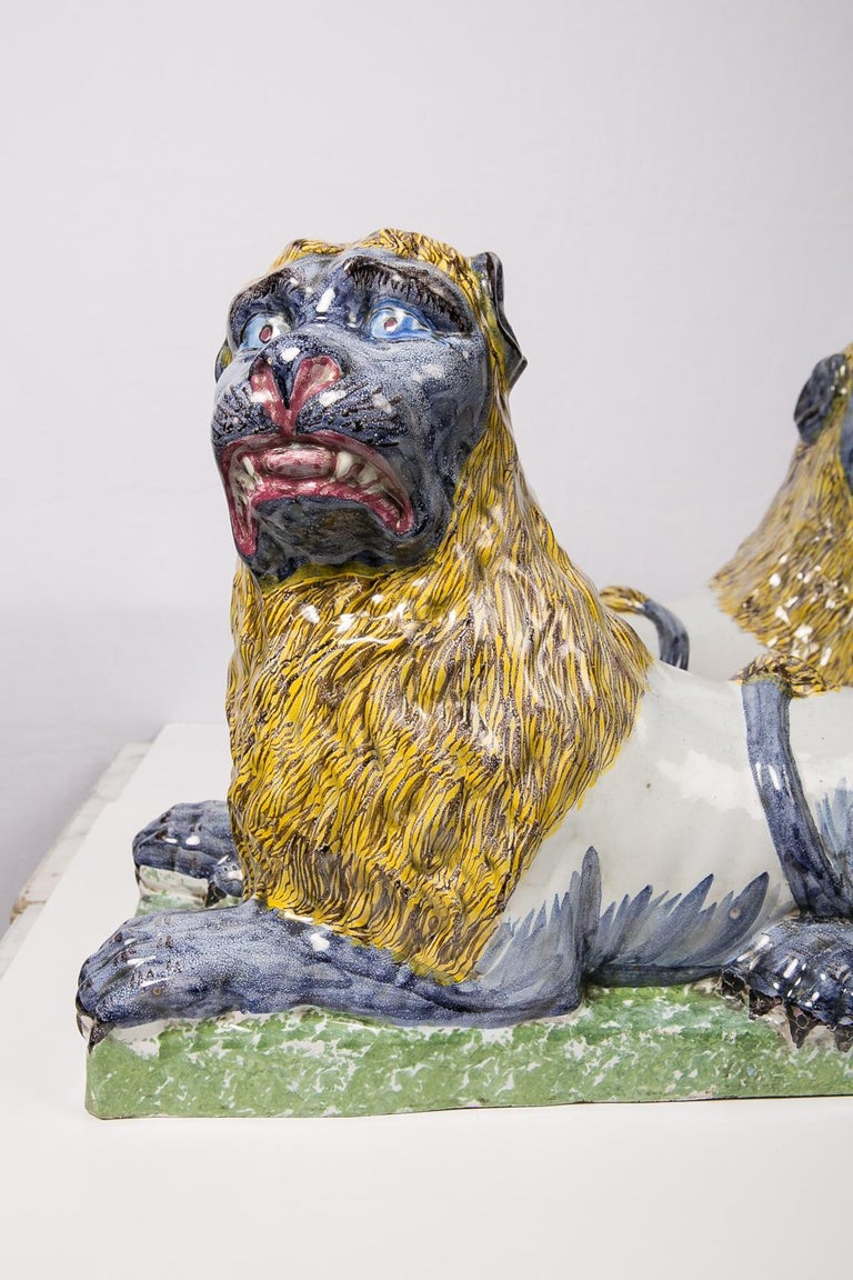Pair of Large Antique Luneville Lions Made circa 1800 For Sale 1