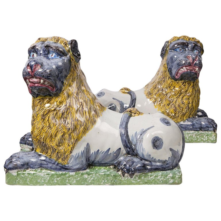 Pair of Large Antique Luneville Lions Made circa 1800 For Sale