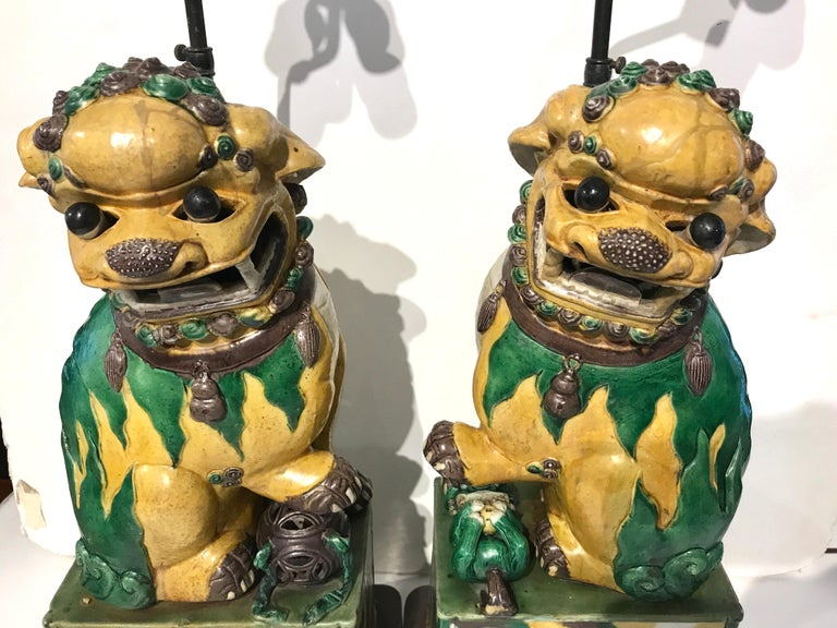 Pair Of Large Antique Sancai Chinese Export Foo Dogs Now