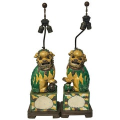 Pair of Large Antique Sancai Chinese Export Foo Dogs, Now as L