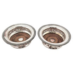 Pair of Large Antique Silver Plated Wine Bottle Coasters with Wooden Inserts