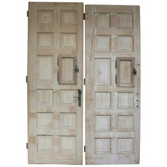 Pair of Large Antique Single Apartment Doors with 12 Panels, Bleached Pine