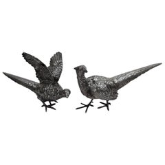 Pair of Large Antique Sterling Silver Pheasants