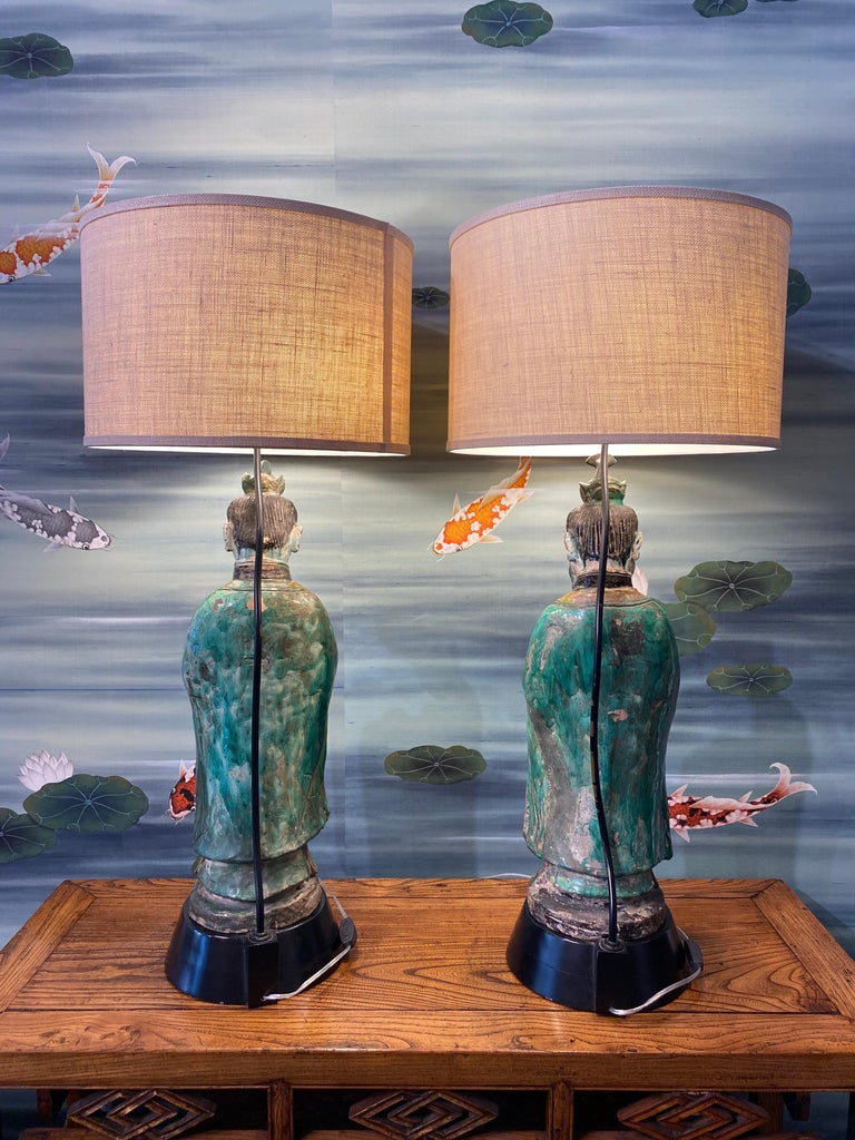 Pair of Large Antique Tang Style Chinese Figures as Lamps For Sale 5