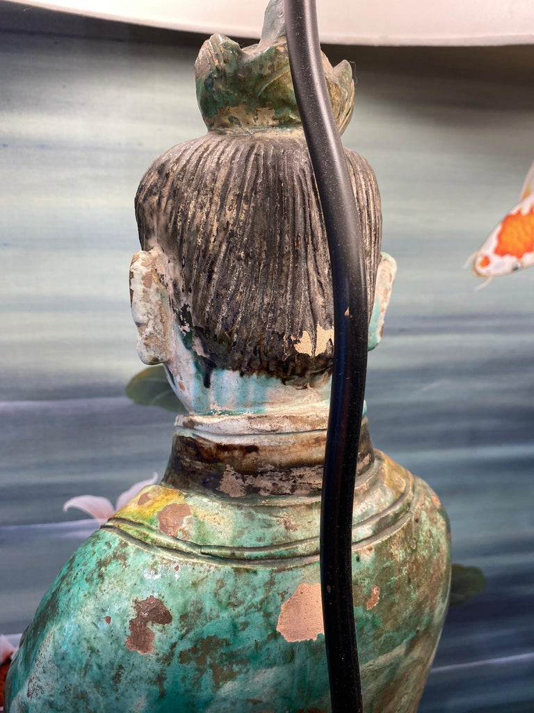 Pair of Large Antique Tang Style Chinese Figures as Lamps For Sale 6