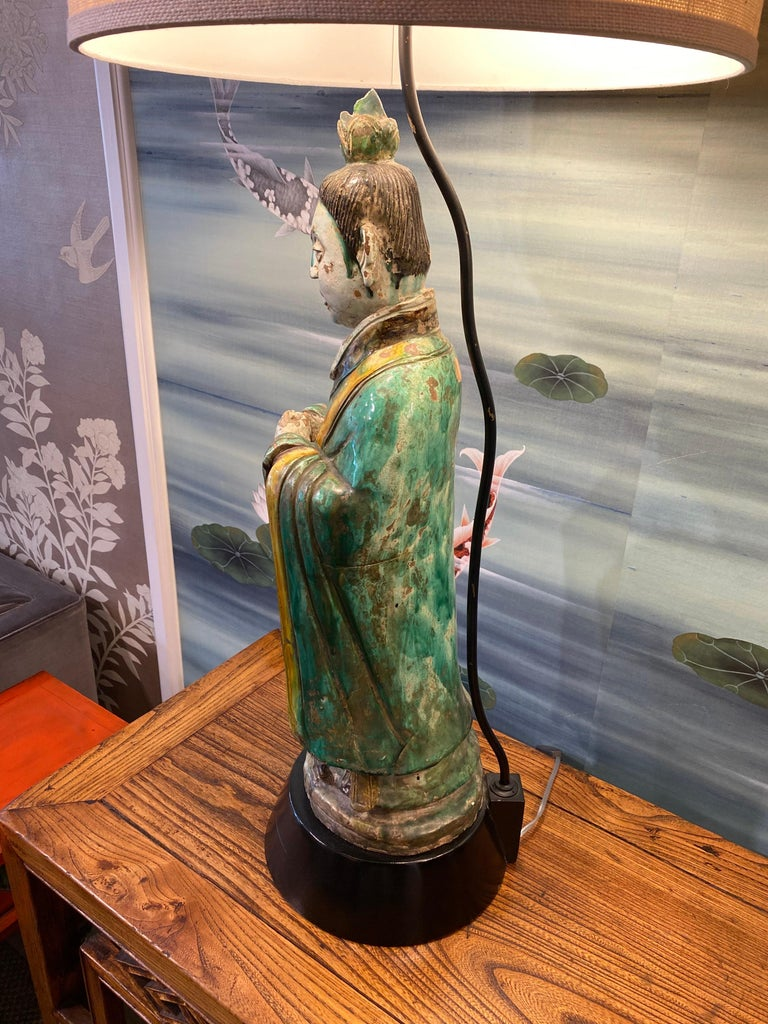 Pair of Large Antique Tang Style Chinese Figures as Lamps For Sale 9