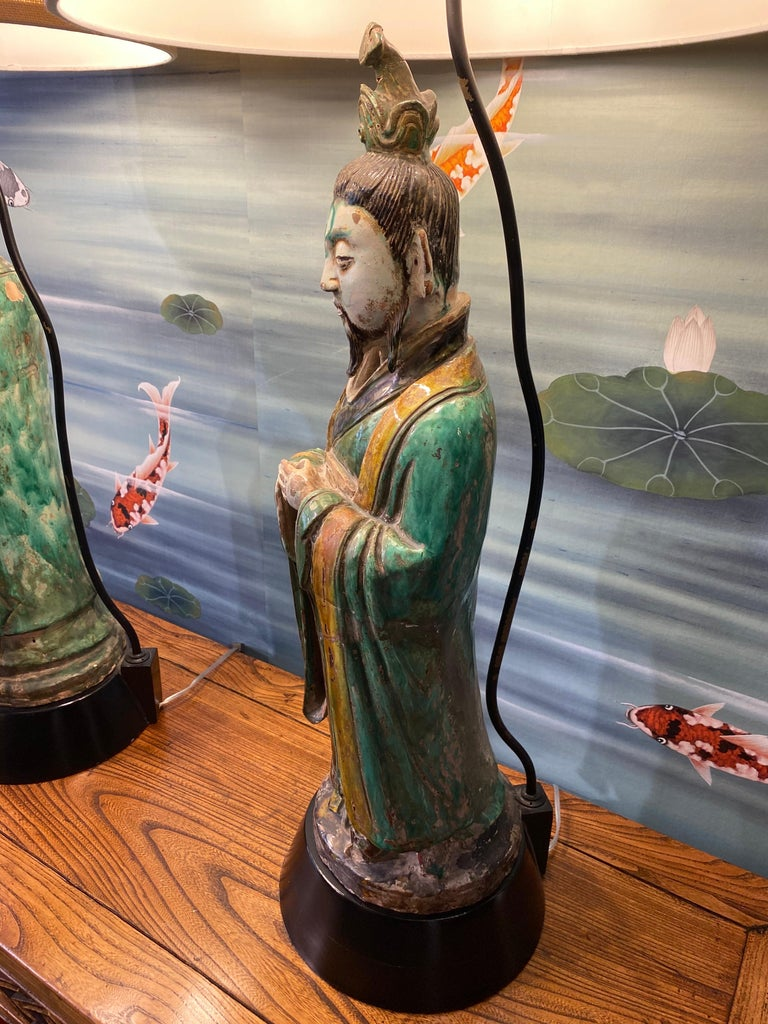 Pair of Large Antique Tang Style Chinese Figures as Lamps For Sale 10