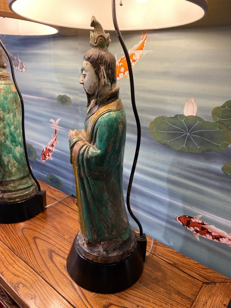 Pair of Large Antique Tang Style Chinese Figures as Lamps For Sale 12