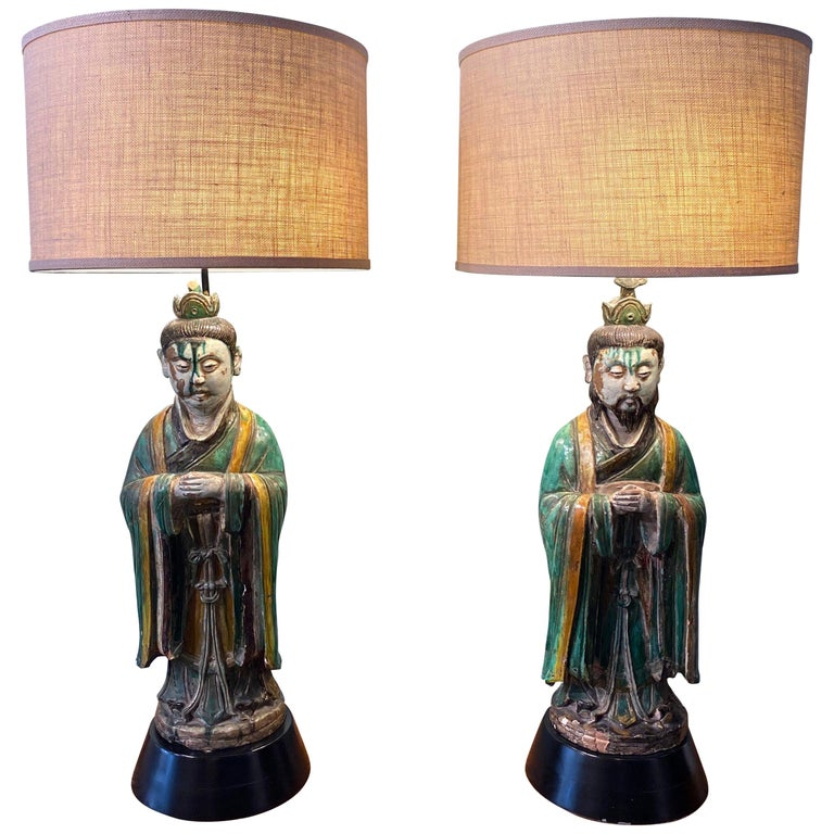 Pair of Large Antique Tang Style Chinese Figures as Lamps For Sale