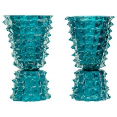 Pair of Large Aquamarine Rostrato Murano Glass Table Lamps, in Stock