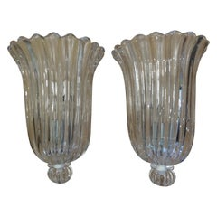 Pair of Large Archimede Seguso Signed and Marked Murano Glass Sconces