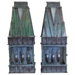Pair of Large Architectural Brass Wall Hanging Lantern