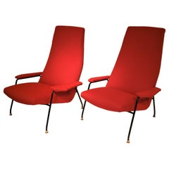 Pair of Large Armchairs Attributed to Augusto Bozzi for Saporiti, Italy