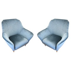 Pair of Large Armchairs Attributed to Ico Parisi