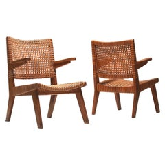 Pair of Large Armchairs by Pierre Jeanneret Geneva, Switzerland, 1950s