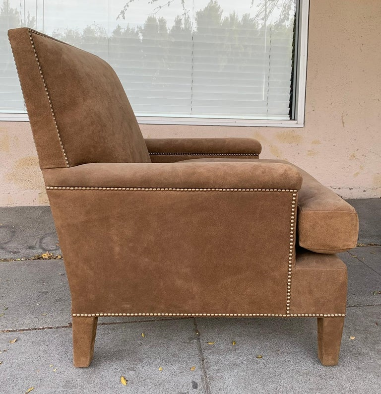 Pair of Large Armchairs Upholstered in Brown Suede For Sale 4