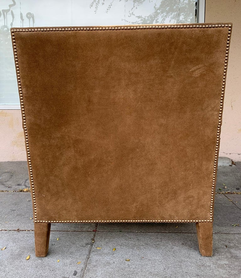 Pair of Large Armchairs Upholstered in Brown Suede For Sale 6