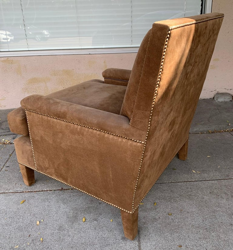 Pair of Large Armchairs Upholstered in Brown Suede For Sale 7