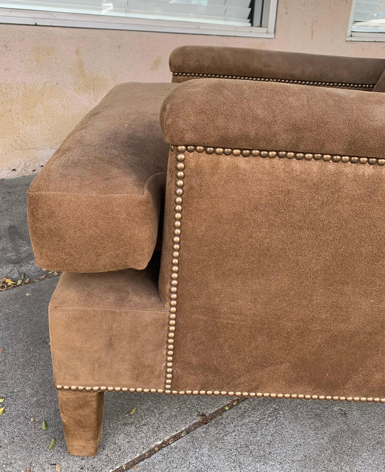 Mid-Century Modern Pair of Large Armchairs Upholstered in Brown Suede For Sale