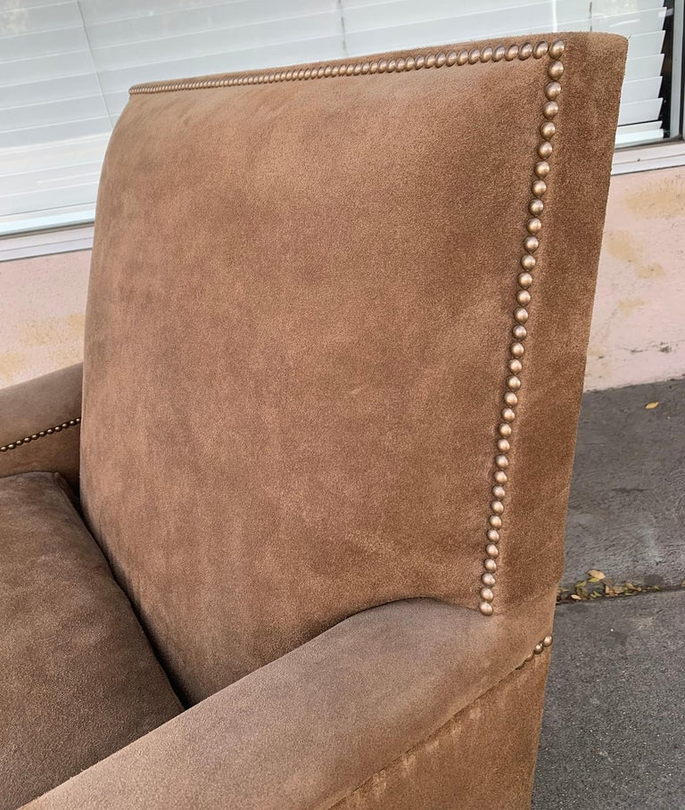 Pair of Large Armchairs Upholstered in Brown Suede In Good Condition For Sale In Los Angeles, CA