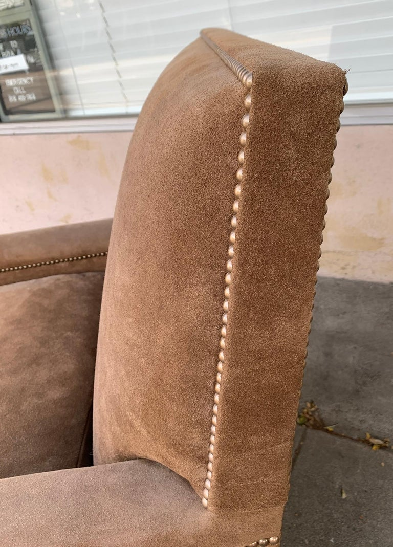 Mid-20th Century Pair of Large Armchairs Upholstered in Brown Suede For Sale