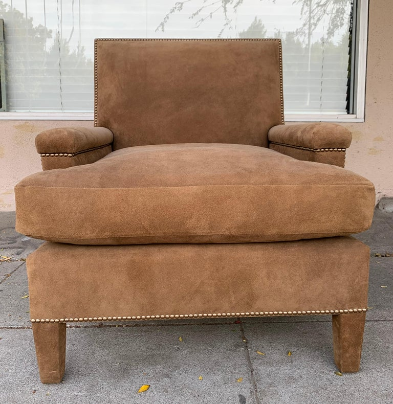 Pair of Large Armchairs Upholstered in Brown Suede For Sale 1