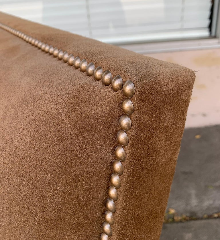 Pair of Large Armchairs Upholstered in Brown Suede For Sale 2