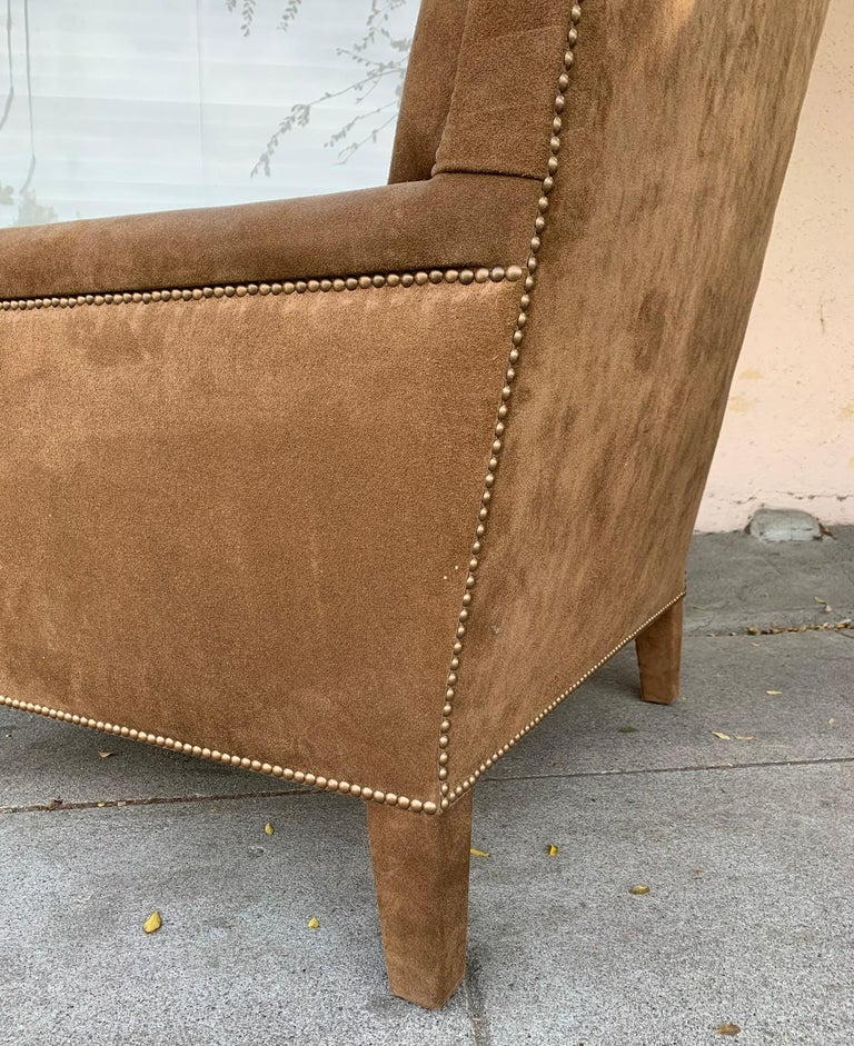 Pair of Large Armchairs Upholstered in Brown Suede For Sale 3