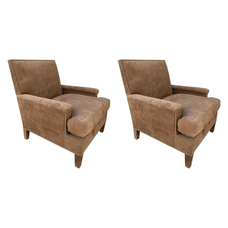 Pair of Large Armchairs Upholstered in Brown Suede For Sale