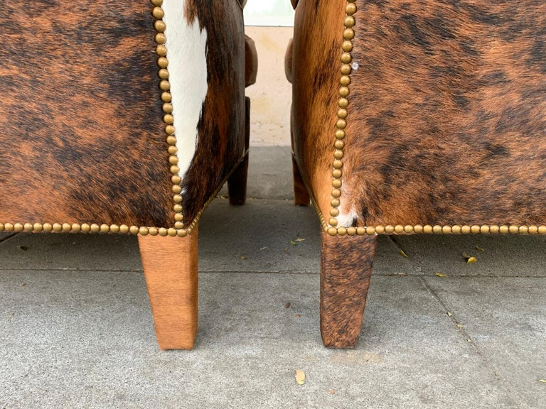 Pair of Large Armchairs Upholstered in Cowhide Leather For Sale 4