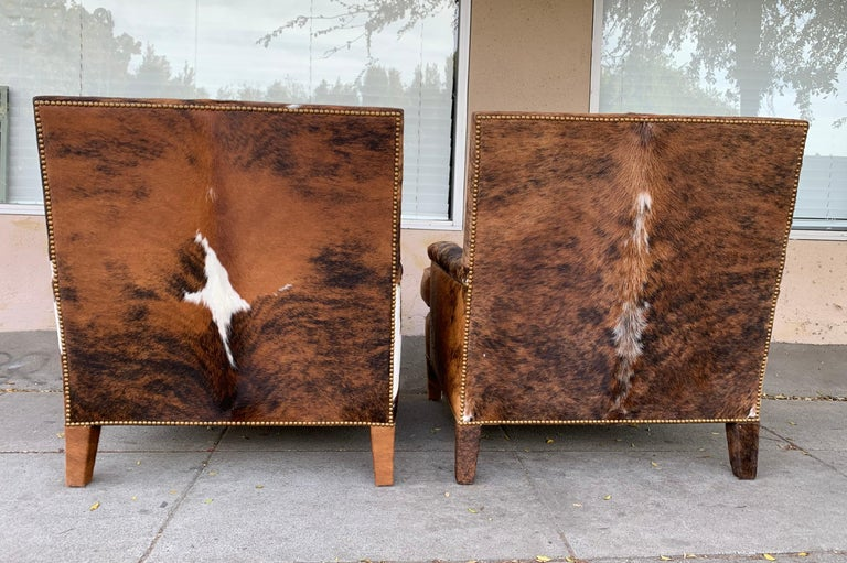 Pair of Large Armchairs Upholstered in Cowhide Leather For Sale 5