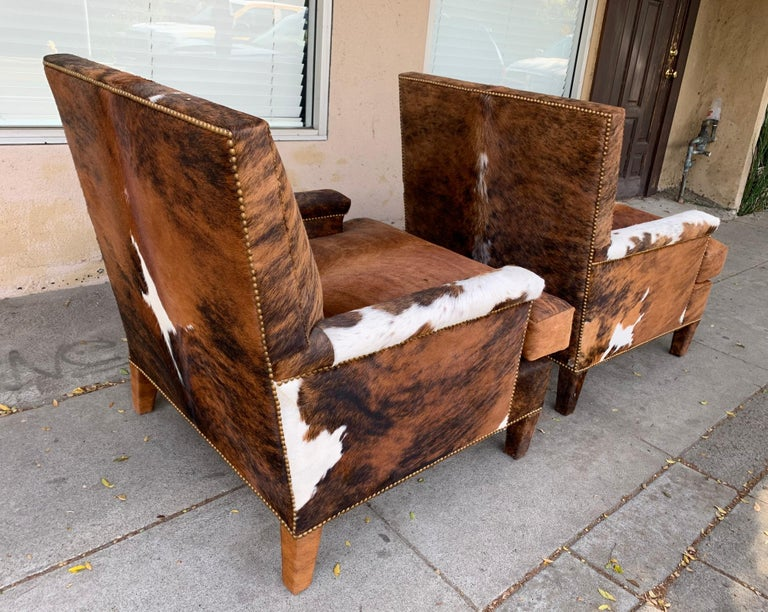 Pair of Large Armchairs Upholstered in Cowhide Leather For Sale 6