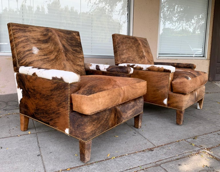 American Pair of Large Armchairs Upholstered in Cowhide Leather For Sale