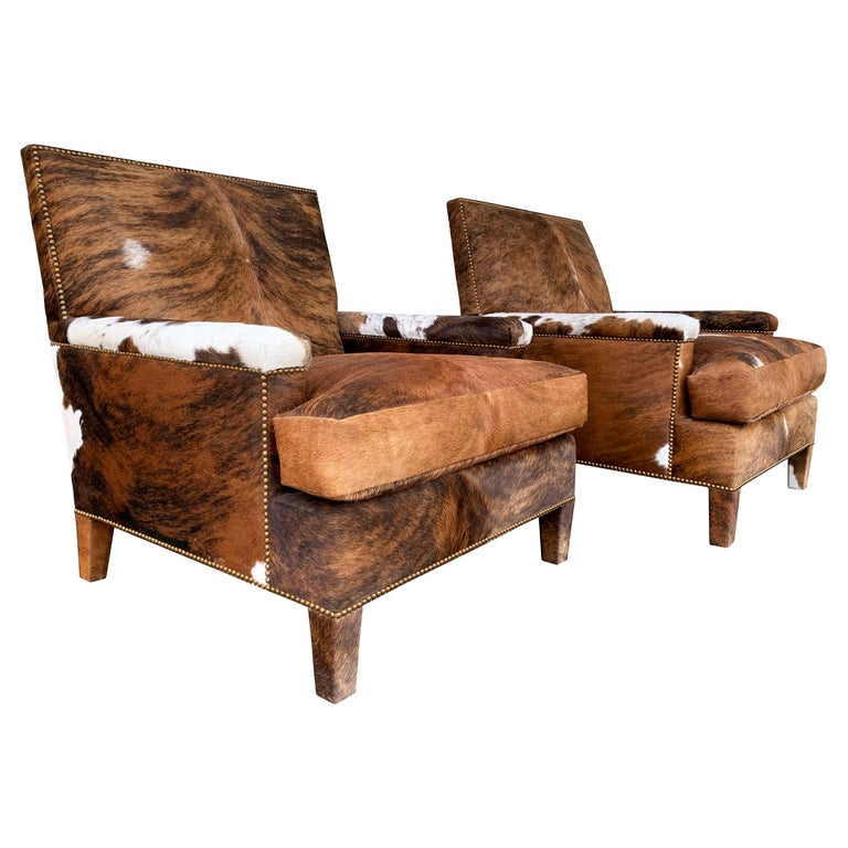 Pair of Large Armchairs Upholstered in Cowhide Leather For Sale